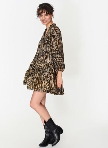 Loves You Düğmeli Zebra Desen Elbise Camel